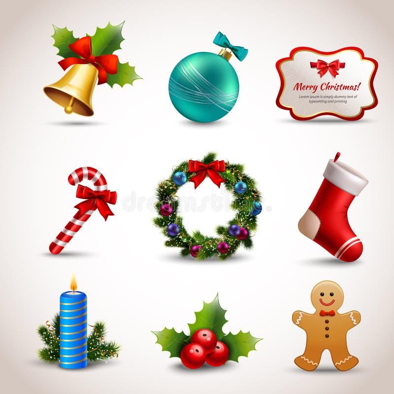 Geplaatste de Pictogrammen van Kerstmis royalty-vrije illustratie