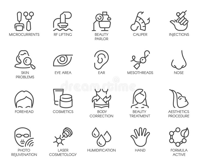 Geplaatste de pictogrammen van de de kosmetieklijn 20 geïsoleerde overzichtsemblemen Schoonheidstherapie, bodycare, gezondheidszo stock illustratie