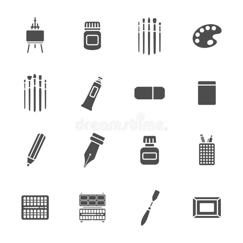 Geplaatste de pictogrammen van kunstmaterialen stock illustratie