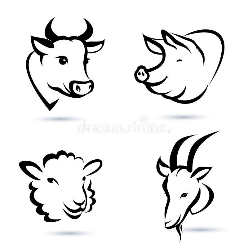 Geplaatste de pictogrammen van landbouwbedrijfdieren vector illustratie