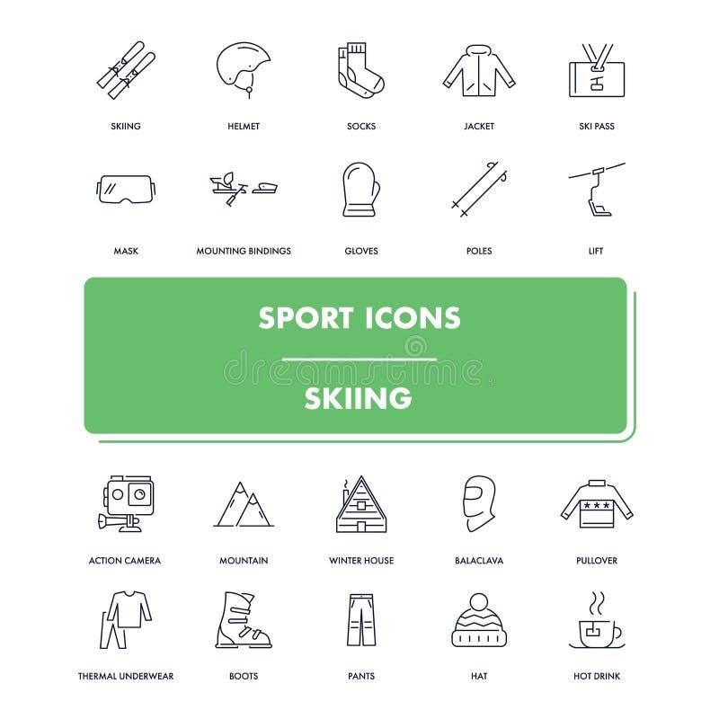 Geplaatste de pictogrammen van de lijnsport Het skiån stock illustratie