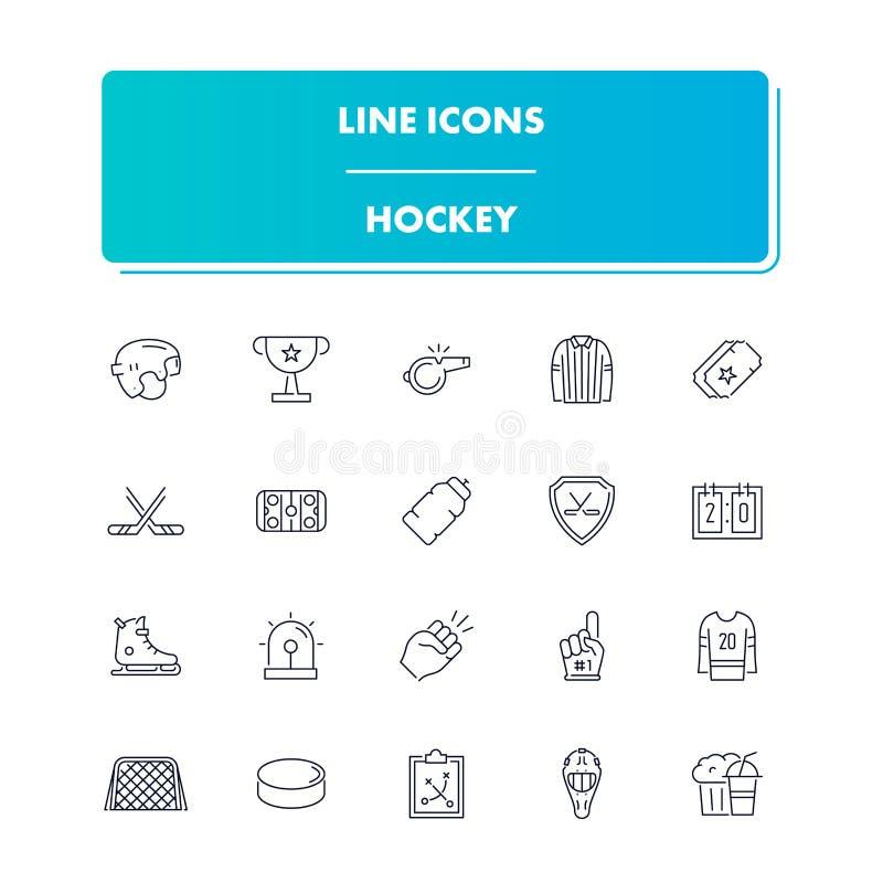 Geplaatste de pictogrammen van de lijnsport hockey royalty-vrije illustratie