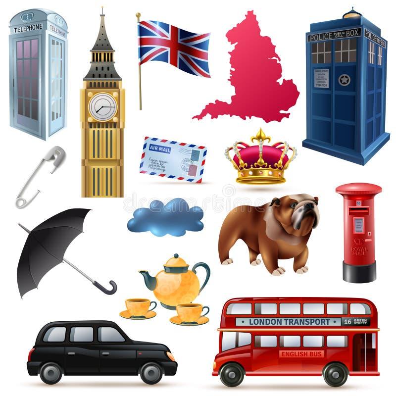 Geplaatste de Pictogrammen van Londen Engeland royalty-vrije illustratie