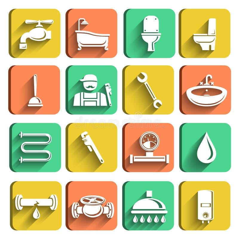 Geplaatste de Pictogrammen van loodgieterswerkhulpmiddelen vector illustratie