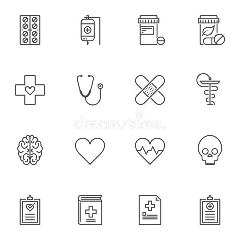 Geplaatste de pictogrammen van de medische apparatuurlijn vector illustratie