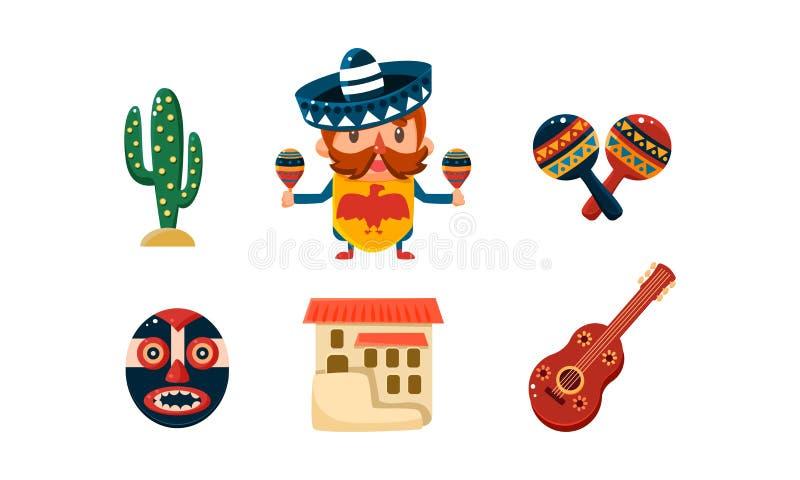 Geplaatste de pictogrammen van Mexico, de Mexicaanse vectorillustratie van beeldverhaalsymbolen op een witte achtergrond vector illustratie