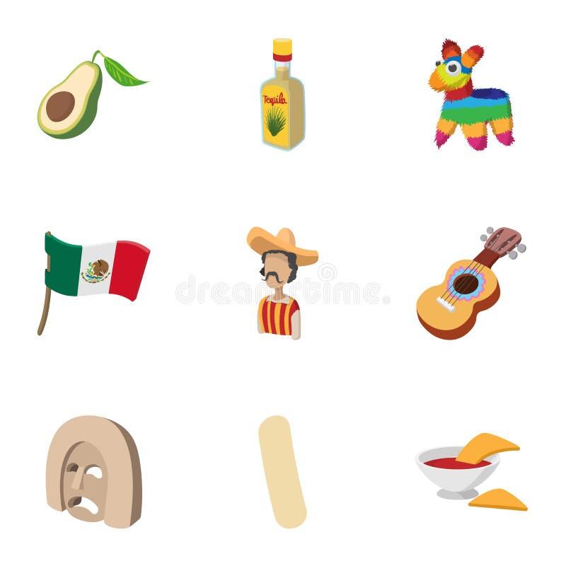 Geplaatste de pictogrammen van Mexico van het land, beeldverhaalstijl stock illustratie