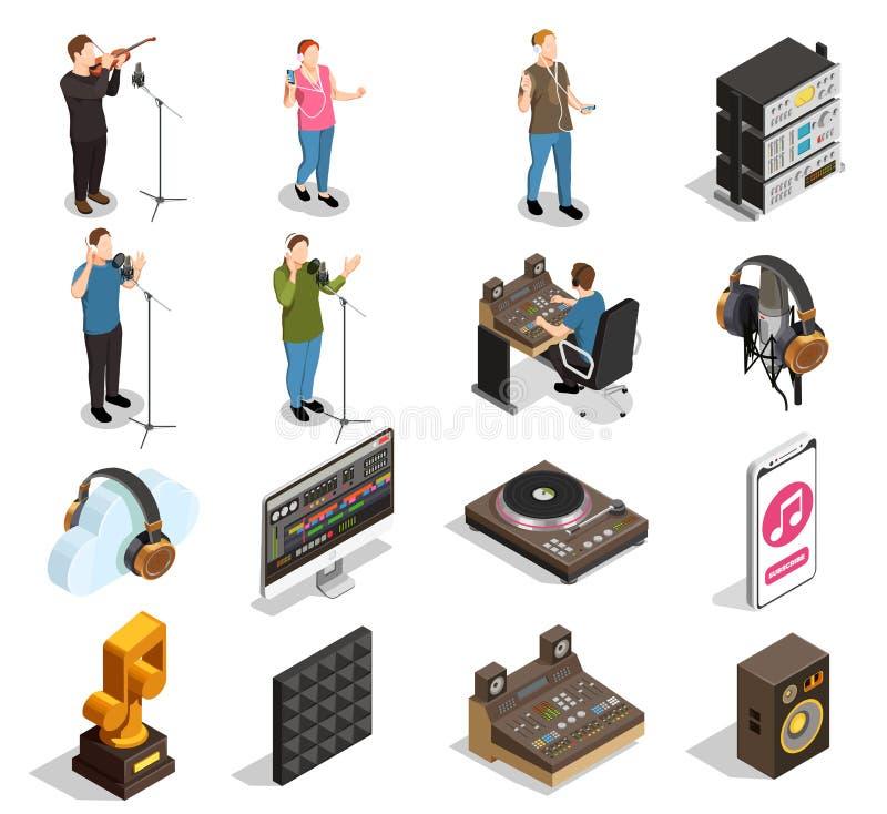 Geplaatste de pictogrammen van de muziekindustrie stock illustratie