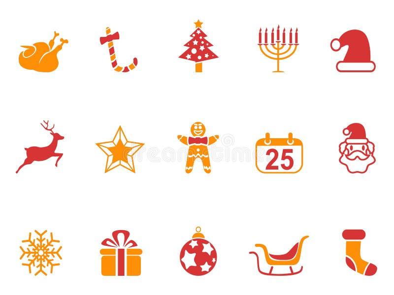 Geplaatste de pictogrammen van oranje en rode kleurenkerstmis royalty-vrije illustratie