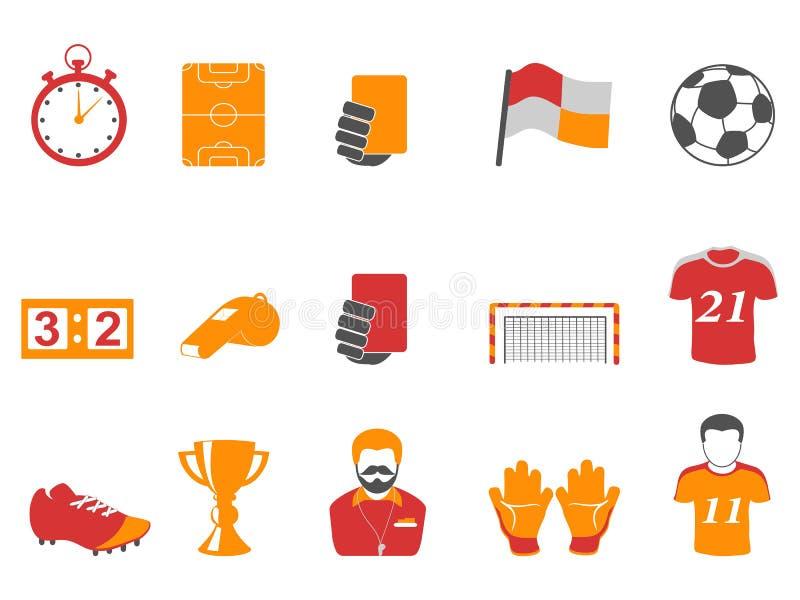 Geplaatste de pictogrammen van de oranje en rode kleurenvoetbal royalty-vrije illustratie
