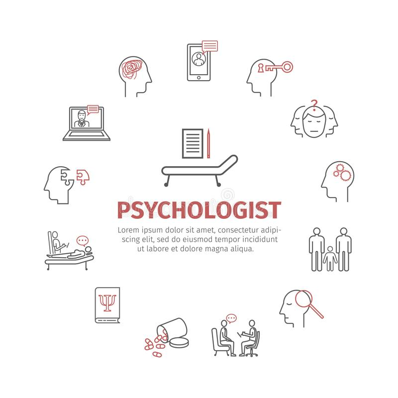 Geplaatste de pictogrammen van de psycholooglijn conceptuele infographics Het adviseren psychologie Teken voor Webgrafiek royalty-vrije illustratie