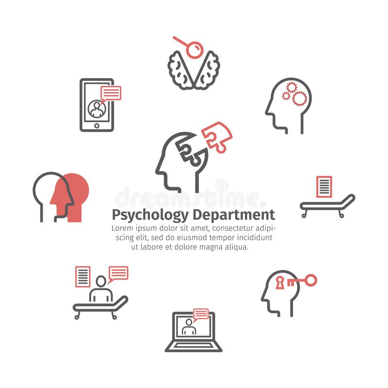 Geplaatste de pictogrammen van de psycholooglijn Ronde banner Conceptuele tekens Vector illustratie stock illustratie