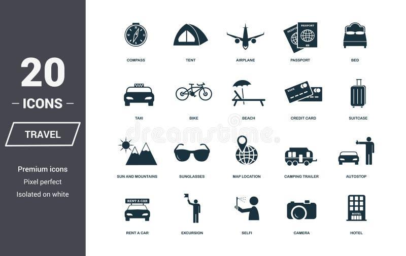 Geplaatste de pictogrammen van de reis Het Symboolinzameling van de premiekwaliteit De vastgestelde eenvoudige elementen van het  royalty-vrije illustratie
