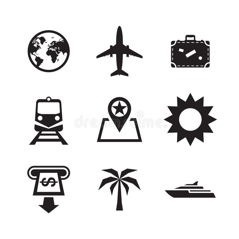 Geplaatste de Pictogrammen van de reisvakantie De vectorinzameling van het illustratieteken stock illustratie
