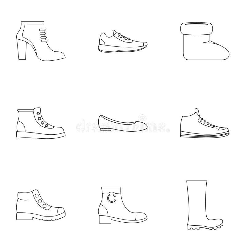 Geplaatste de pictogrammen van de schoeninzameling, schetsen stijl stock illustratie