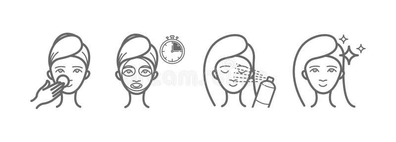 Geplaatste de pictogrammen van de schoonheidsbehandeling, gezichtsmasker, nevel royalty-vrije illustratie