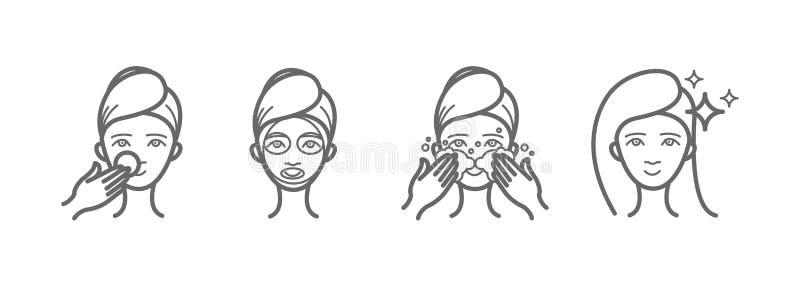 Geplaatste de pictogrammen van de schoonheidsbehandeling, gezichtszorg, masker vector illustratie