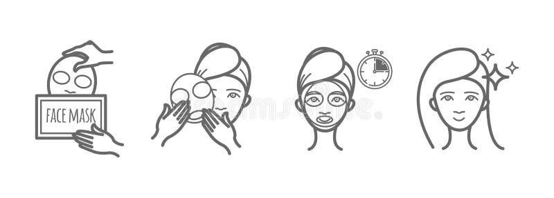 Geplaatste de pictogrammen van de schoonheidsbehandeling, het gezichtsmasker van toepassing zijn royalty-vrije illustratie