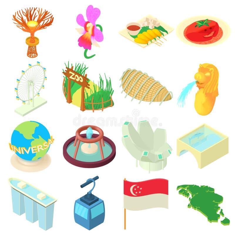Geplaatste de pictogrammen van Singapore, beeldverhaalstijl royalty-vrije illustratie