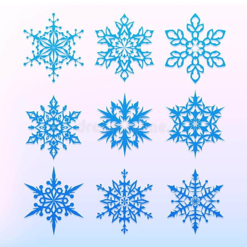 Geplaatste de pictogrammen van de sneeuwvlok Het symbool van de Kerstmisvakantie Sneeuw voor verwezenlijking van Nieuwjaar artist stock illustratie