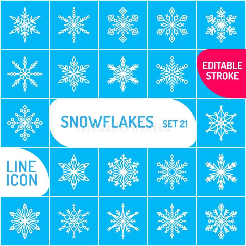 Geplaatste de pictogrammen van de sneeuwvlok overzichts vectorpictogram Dun de vakantiesymbool van lijnkerstmis Sneeuw voor verwe vector illustratie