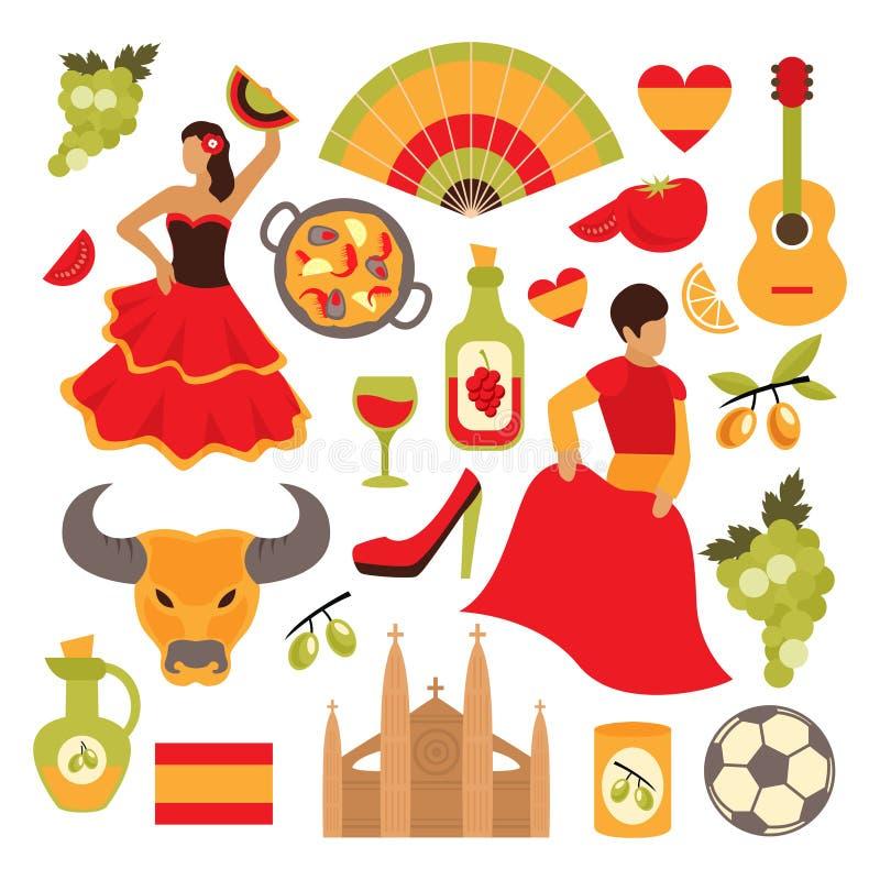 Geplaatste de pictogrammen van Spanje vector illustratie