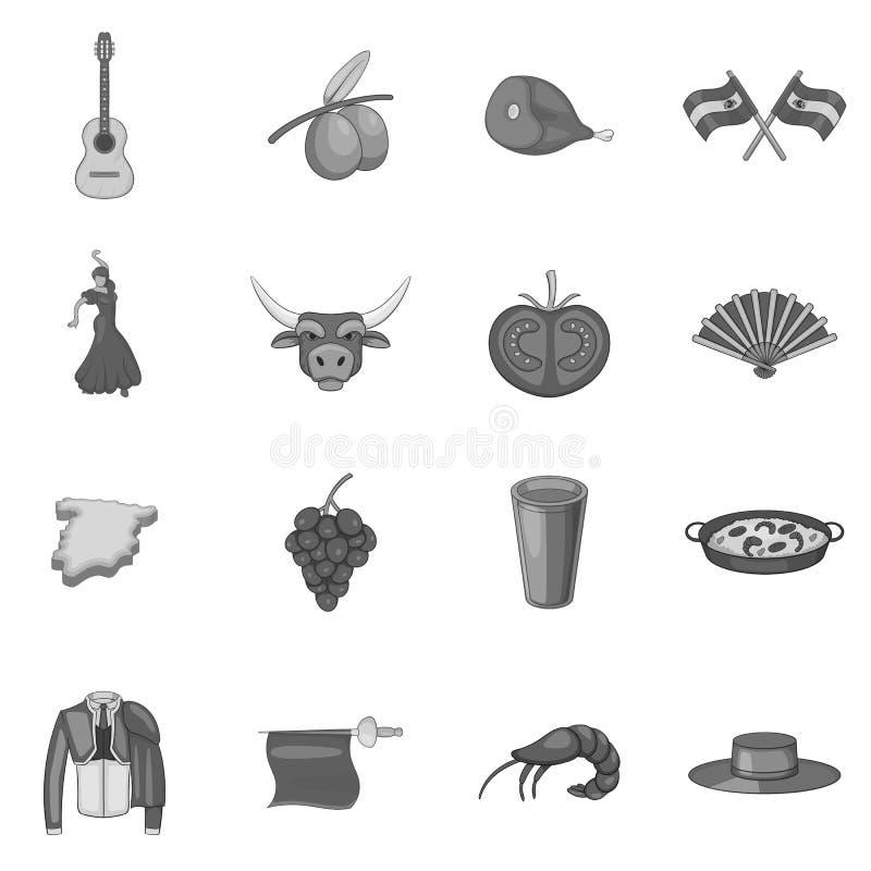 Geplaatste de pictogrammen van Spanje, grijze zwart-wit stijl royalty-vrije illustratie