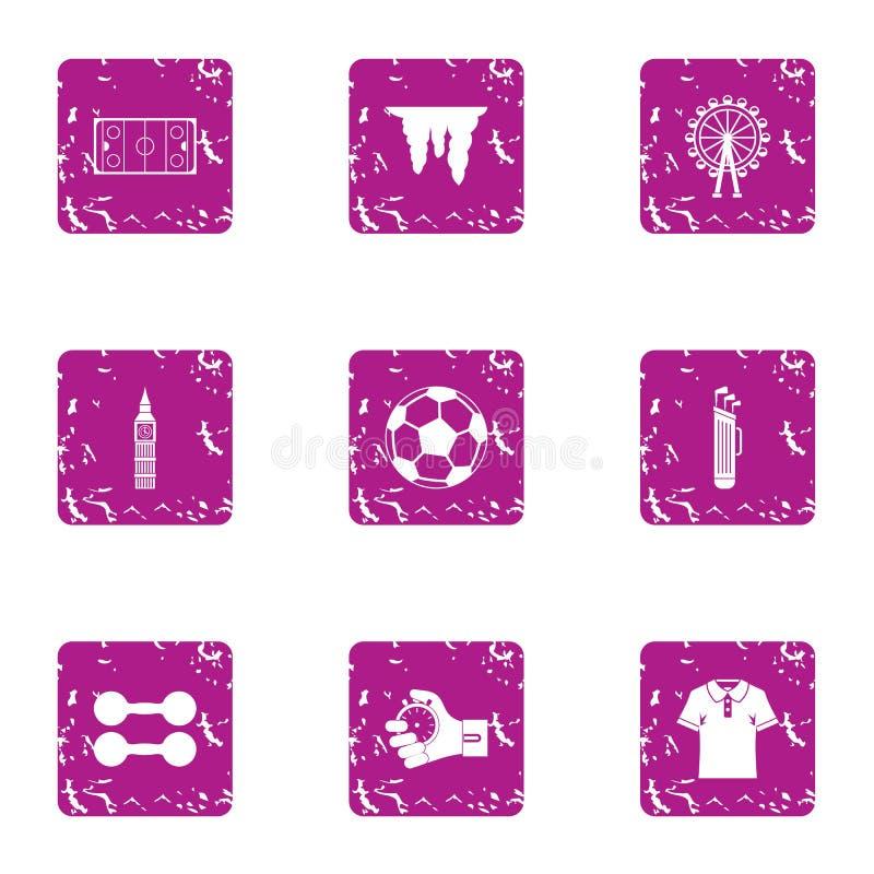 Geplaatste de pictogrammen van de sporthandel, grunge stijl stock illustratie