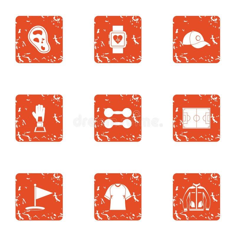 Geplaatste de pictogrammen van de sportstijging, grunge stijl royalty-vrije illustratie