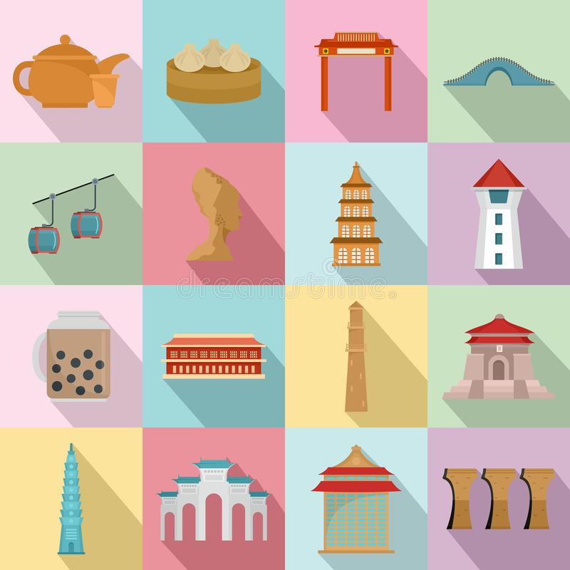 Geplaatste de pictogrammen van de de stadshorizon van Taipeh Taiwan, vlakke stijl vector illustratie