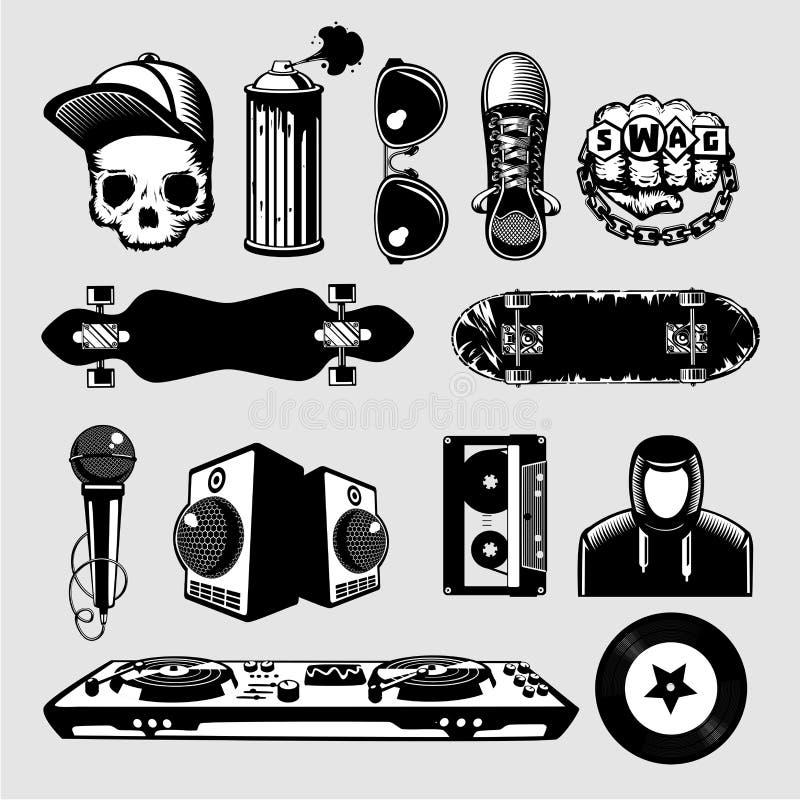 Geplaatste de pictogrammen van de straatcultuur Hiphop en tiktekensinzameling op geïsoleerde achtergrond stock illustratie