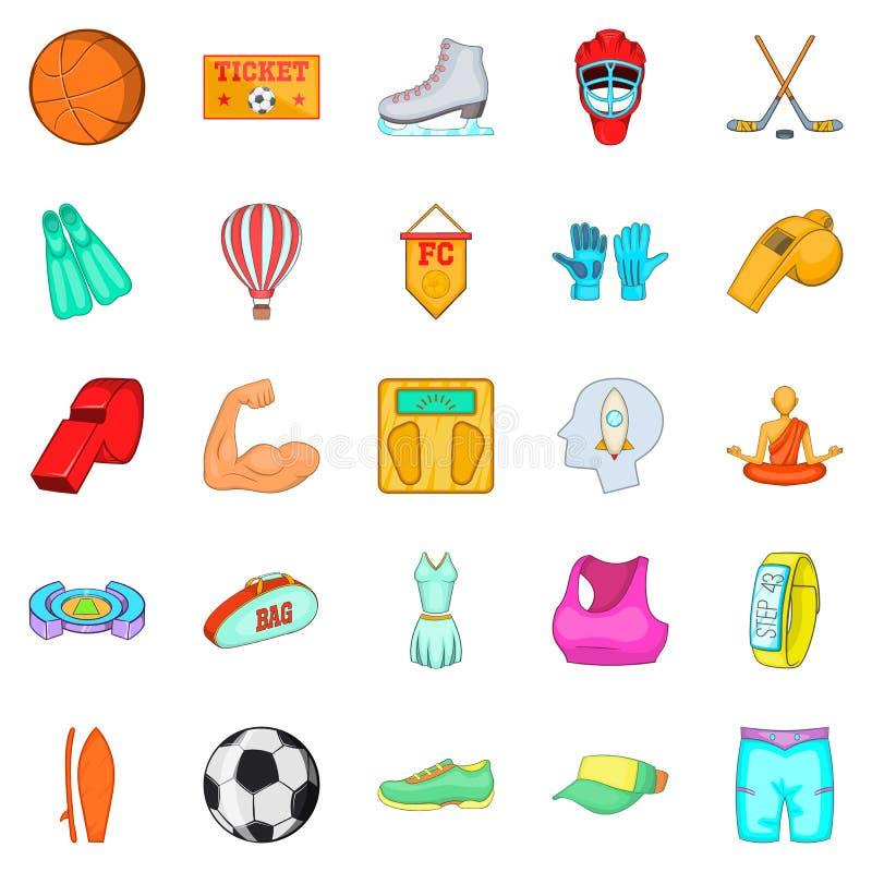 Geplaatste de pictogrammen van straatsporten, beeldverhaalstijl stock illustratie