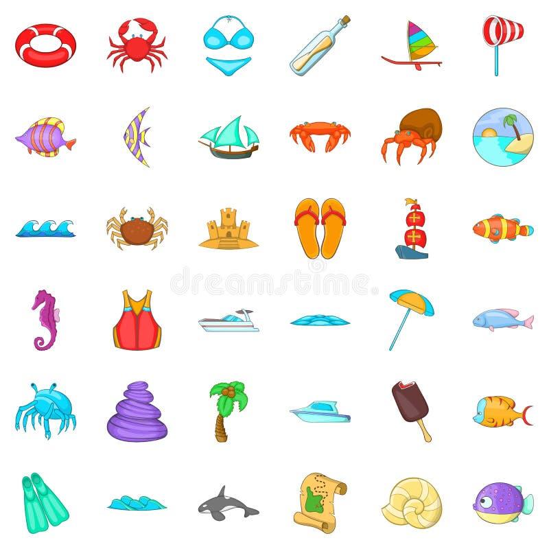 Geplaatste de pictogrammen van strandvacantion, beeldverhaalstijl vector illustratie