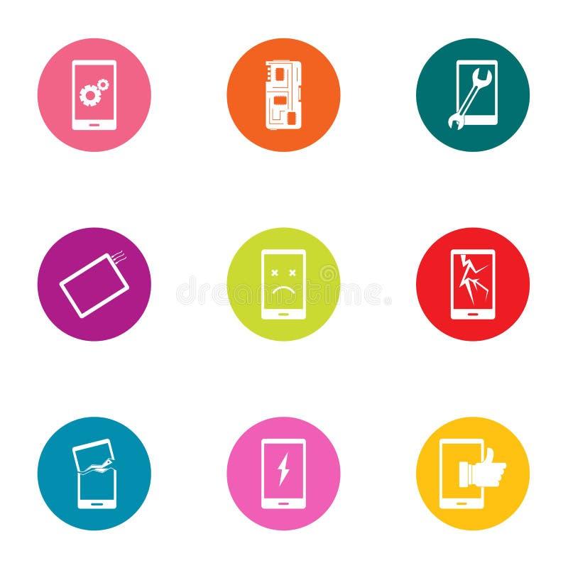 Geplaatste de pictogrammen van de telefoonhandel, vlakke stijl royalty-vrije illustratie