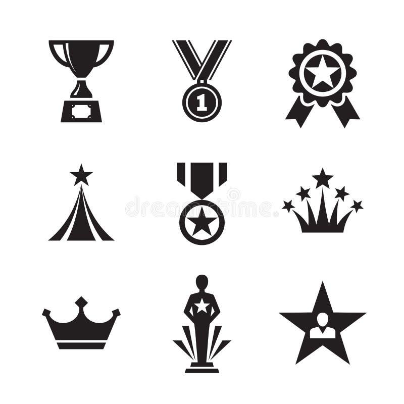 Geplaatste de pictogrammen van de toekenning Medailles en trofee voor winnaar royalty-vrije illustratie