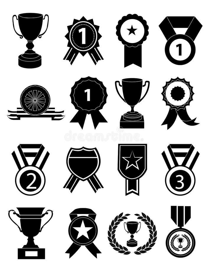 Geplaatste de pictogrammen van toekenningsmedailles royalty-vrije illustratie