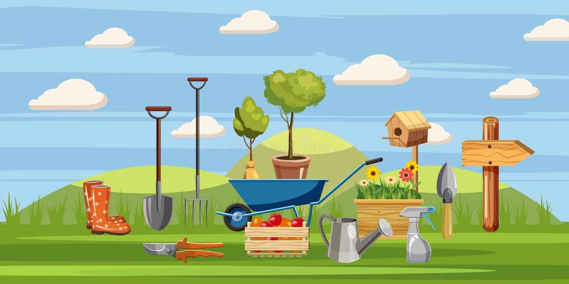 Geplaatste de pictogrammen van tuinmanhulpmiddelen, beeldverhaalstijl vector illustratie
