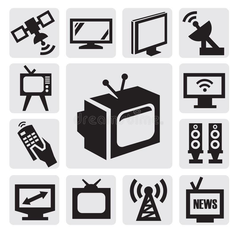 Geplaatste de pictogrammen van TV royalty-vrije illustratie
