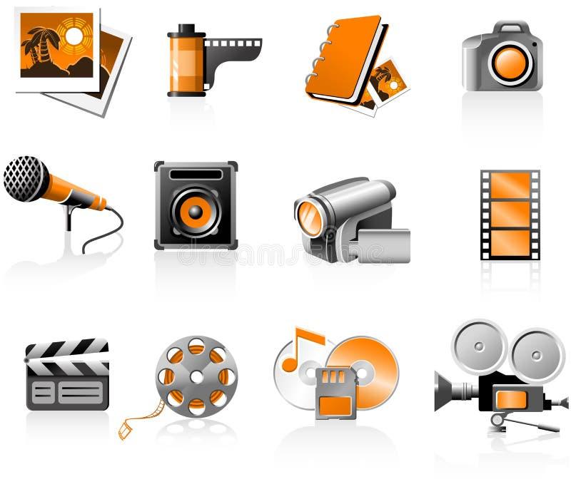 Geplaatste de pictogrammen van verschillende media royalty-vrije illustratie