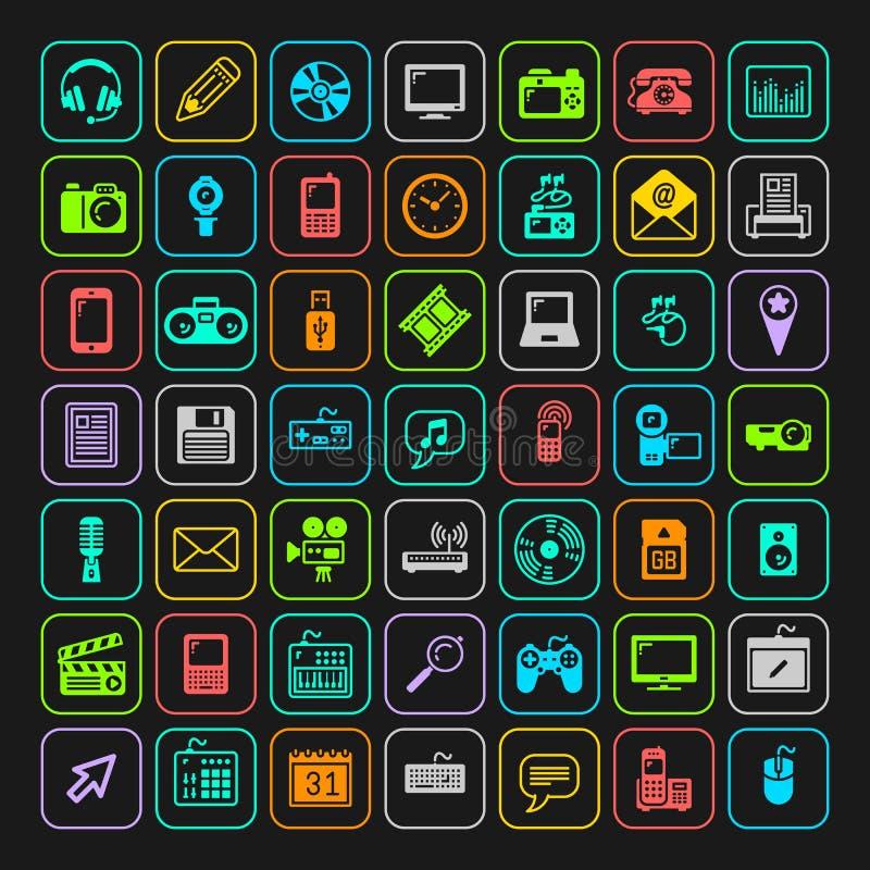 Geplaatste de pictogrammen van verschillende media Vector stock foto