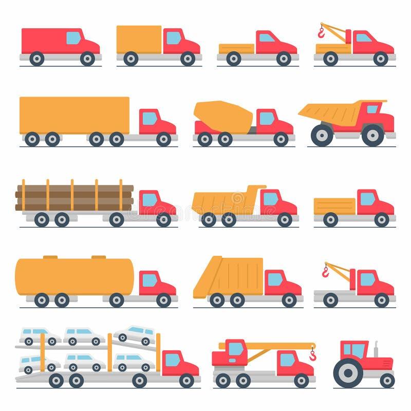 Geplaatste de pictogrammen van vrachtwagens vector illustratie