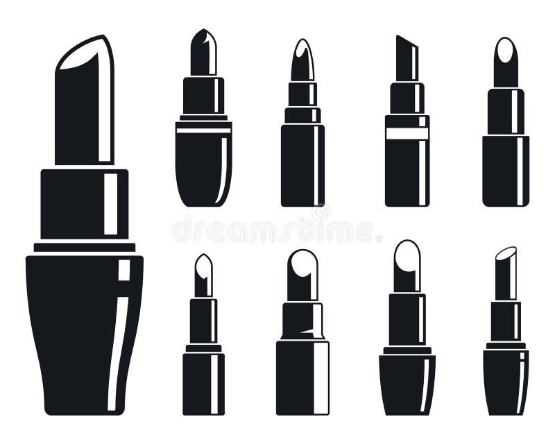 Geplaatste de pictogrammen van de vrouwenlippenstift, eenvoudige stijl stock illustratie