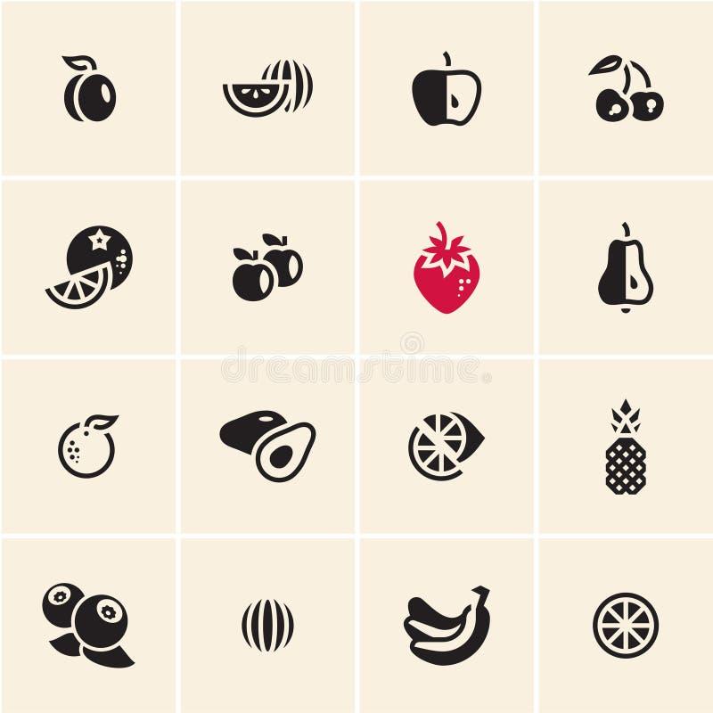 Geplaatste de pictogrammen van vruchten royalty-vrije illustratie