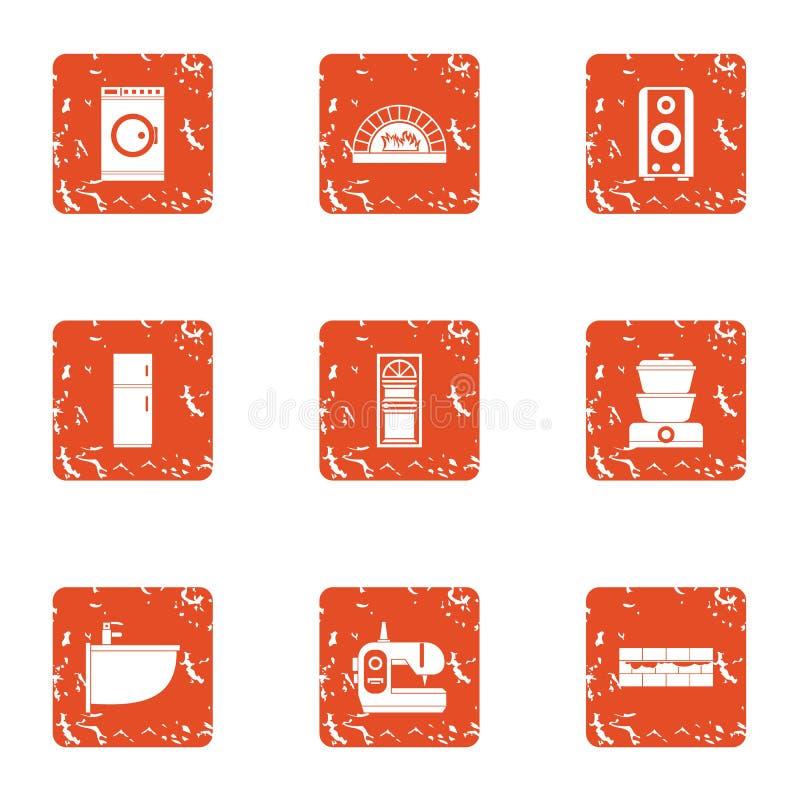 Geplaatste de pictogrammen van waskleren, grunge stijl royalty-vrije illustratie