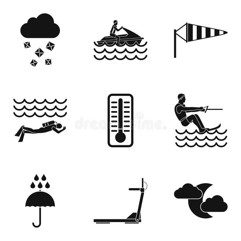 Download Geplaatste De Pictogrammen Van De Waterlading, Eenvoudige Stijl Vector Illustratie - Illustratie bestaande uit nearsighted, bevochtig: 114226692