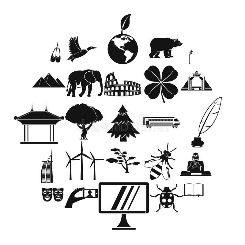 Geplaatste de pictogrammen van de werelderfenis, eenvoudige stijl stock illustratie