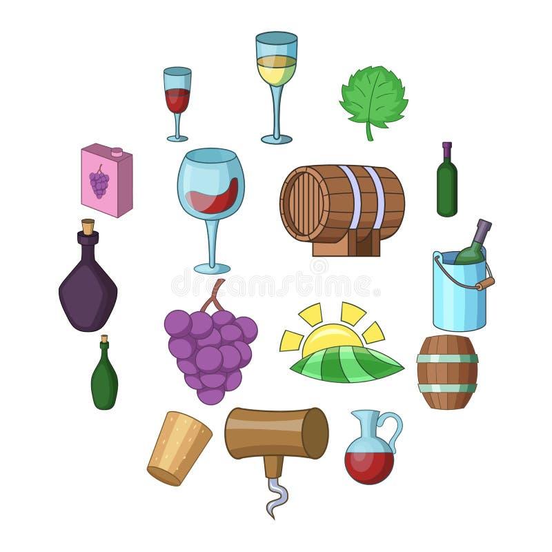 Geplaatste de pictogrammen van de wijnwerf, beeldverhaalstijl vector illustratie