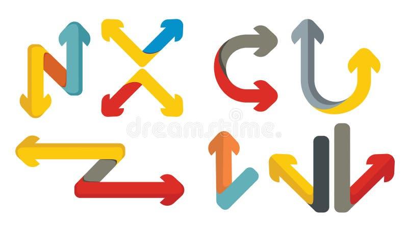 Geplaatste de pijlen van de kleur vector illustratie