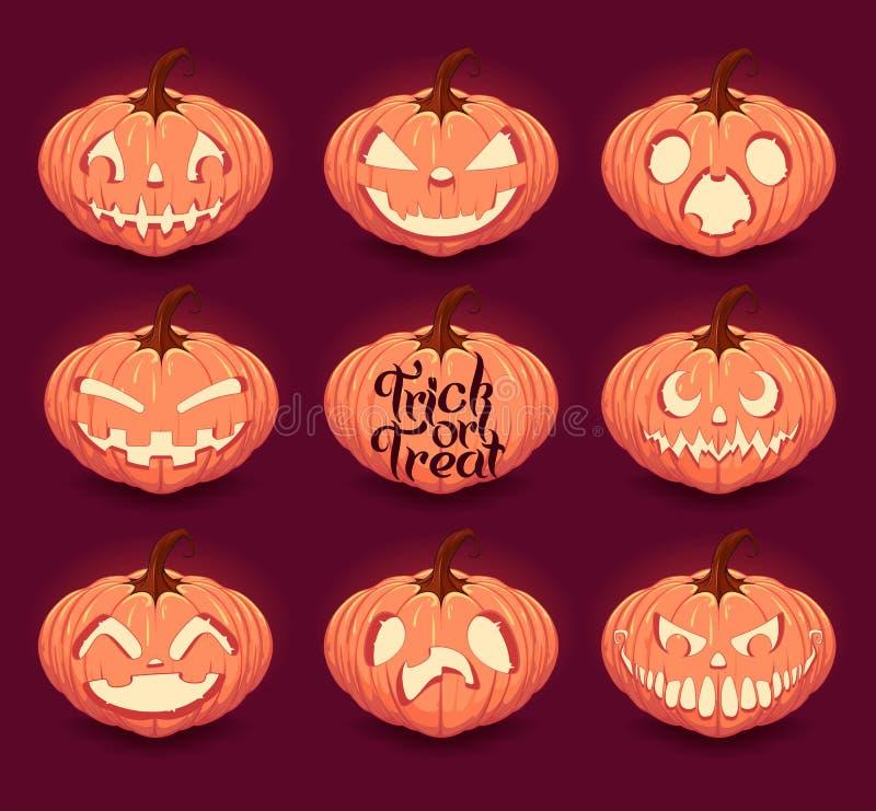 Geplaatste de Pompoenen van Halloween royalty-vrije illustratie