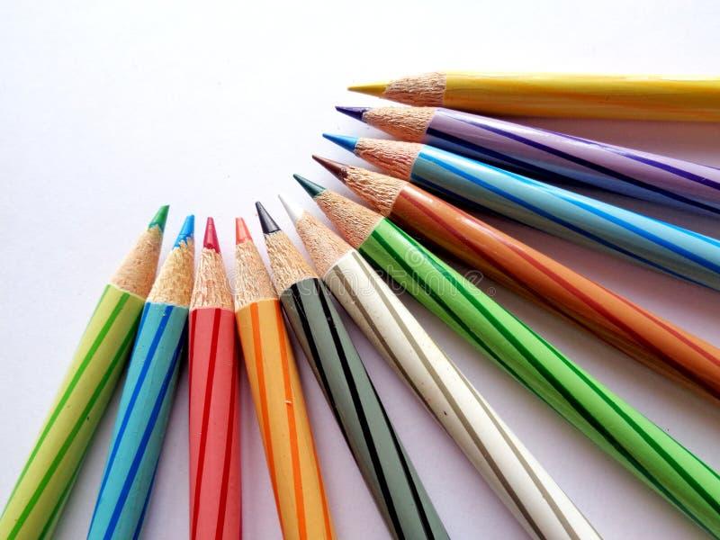 Geplaatste de potloden van de kleur stock afbeeldingen